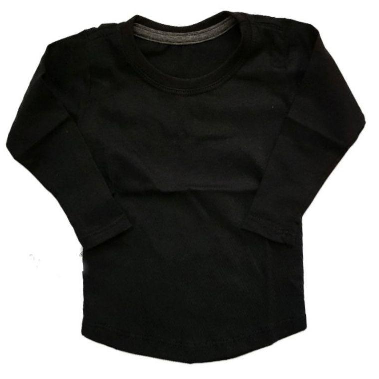 Camiseta Long Preta Manga Longa