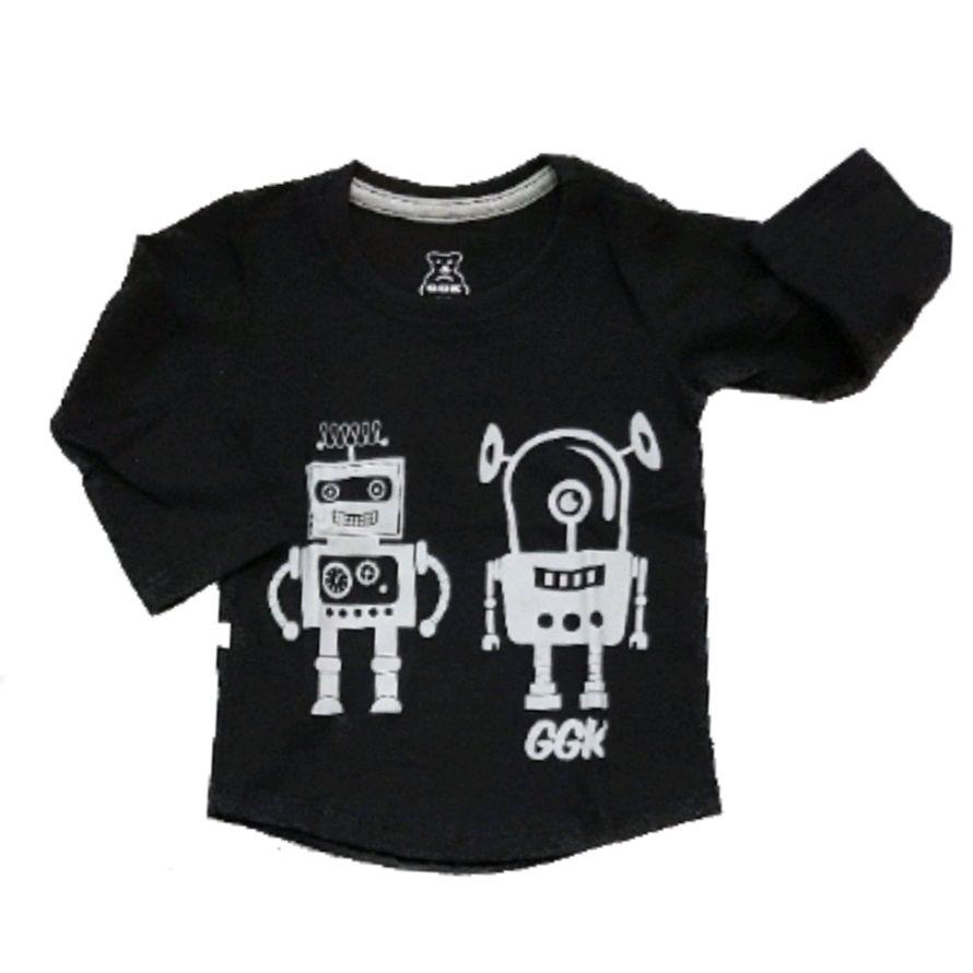 Camiseta Long Robô Manga Longa