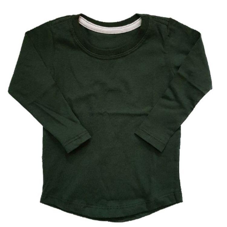 Camiseta Long Verde Militar Manga Longa