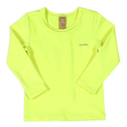 Camiseta Manga Longa Proteção UV Amarelo Flúor