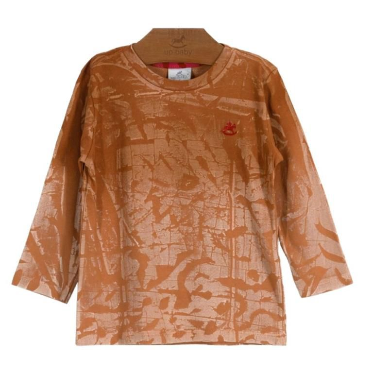 Camiseta Mostarda Estonada Manga Longa
