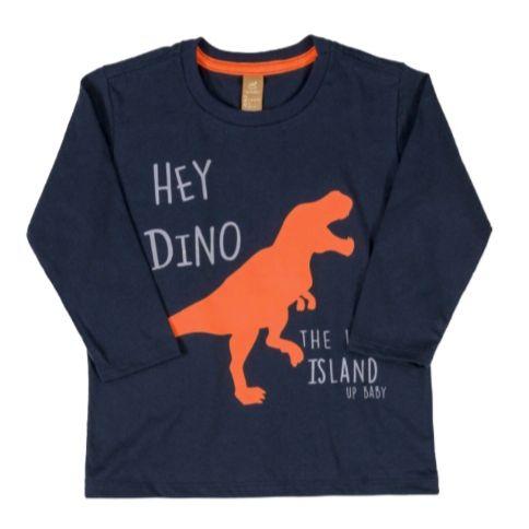 Camiseta T-Rex Marinho Manga Longa