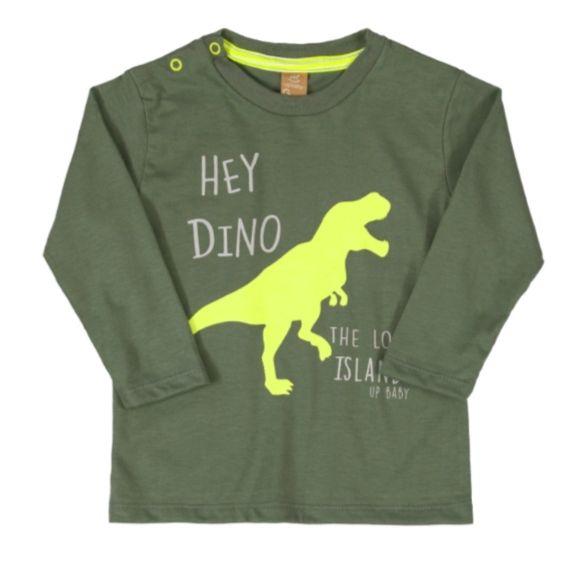 Camiseta T-Rex Verde Manga Longa