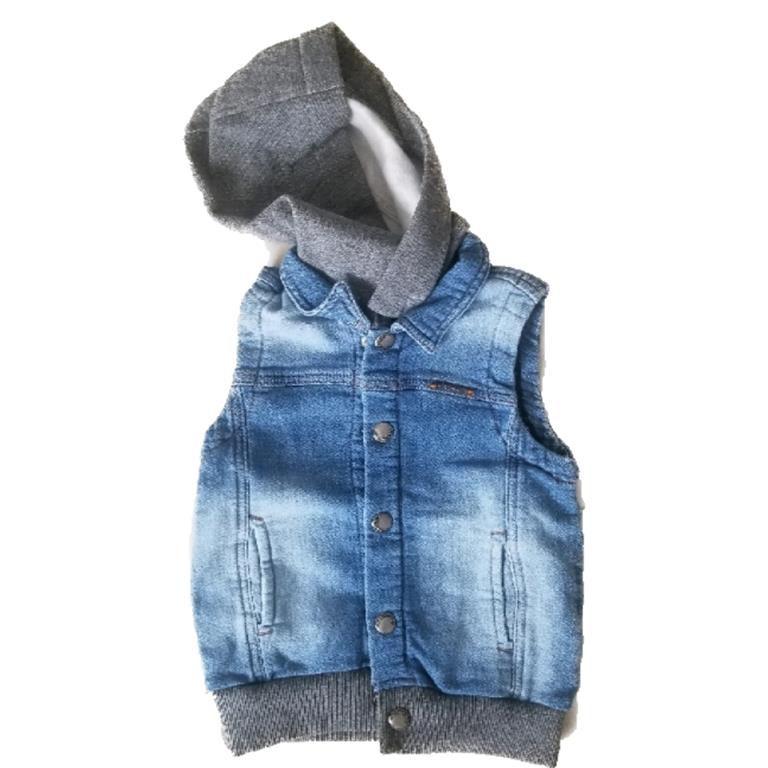 Colete Jeans Capuz