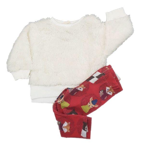 Conjunto Blusão em pelo OFF e Calça Vermelha