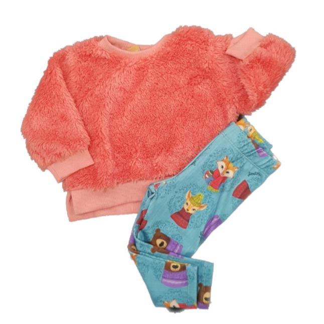 Conjunto Blusão em pelo Rosa e Calça Azul