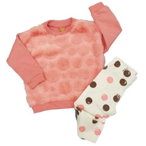 Conjunto Blusão Rosê e Calça Bolas