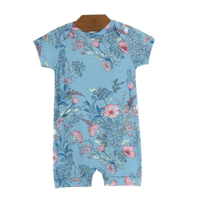 Macacão Floral Azul Bebê