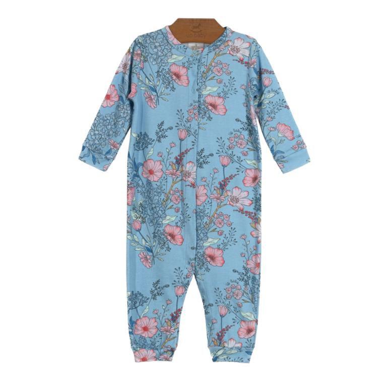 Macacão Longo Floral Azul Bebê