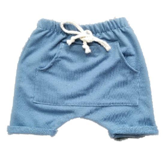 Short Saruel Bolso Canguru Azul Pastel