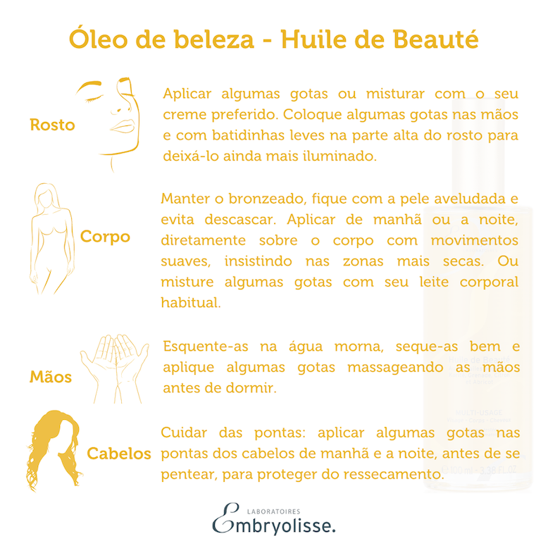 Óleo de beleza - Huile de Beauté  Embryolisse 100ml