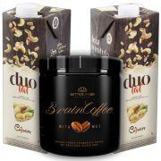 1 Brain Coffee com MCT 200g e 2 Leite Vegetal Duolat 1lt
