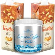 1 Brain Coffee ICE com MCT 200g e 2 Leite Vegetal Toasted 1lt