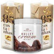 1 Bullet Cream com MCT 240g e 2 Leite Vegetal 85 Castanhas 1lt