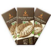 3 un. Chocolate Vegano Orgânico Branco com Leite de Coco 80g Onveg