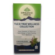 Chá Tulsi True Wellness Collection Cleanse, Lax, Sleep, Tummy e Wellness 25 saches Organic India