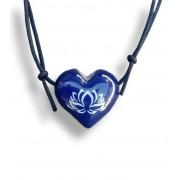 Colar Aromatizador Coração Flor de Lotus Azul Difusor Pessoal Ortega