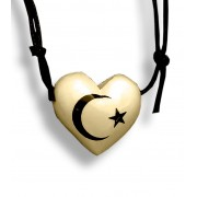 Colar Aromatizador Difusor Pessoal Coração Creme Símbolo Lua e Estrela Ortega