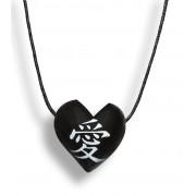 Colar Aromatizador Difusor Pessoal Coração Símbolo Japonês Amor Preto Ortega