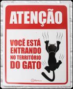 Placa Decorativa Você está entrando no território do gato - CatMyPet