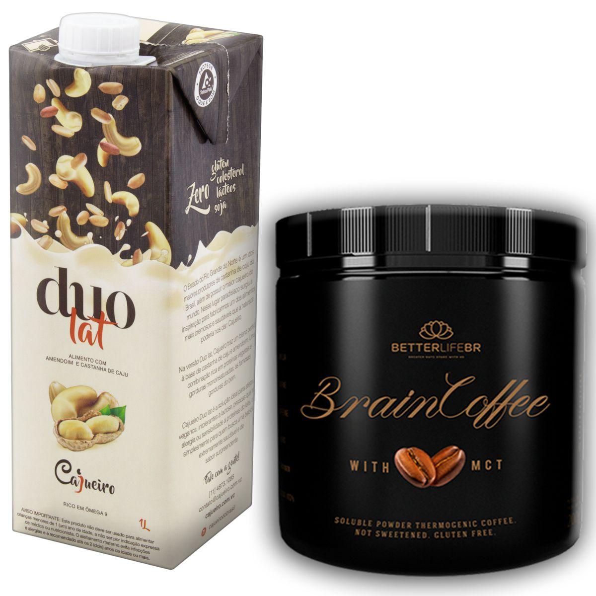 1 Brain Coffee com MCT 200g e 1 Leite Vegetal Duolat 1lt