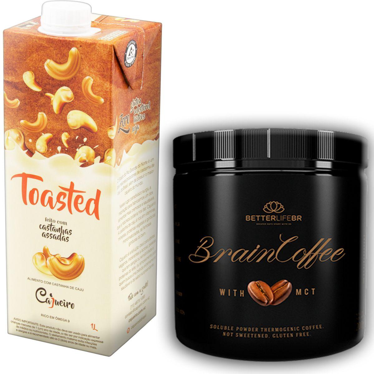 1 Brain Coffee com MCT 200g e 1 Leite Vegetal Toasted 1lt