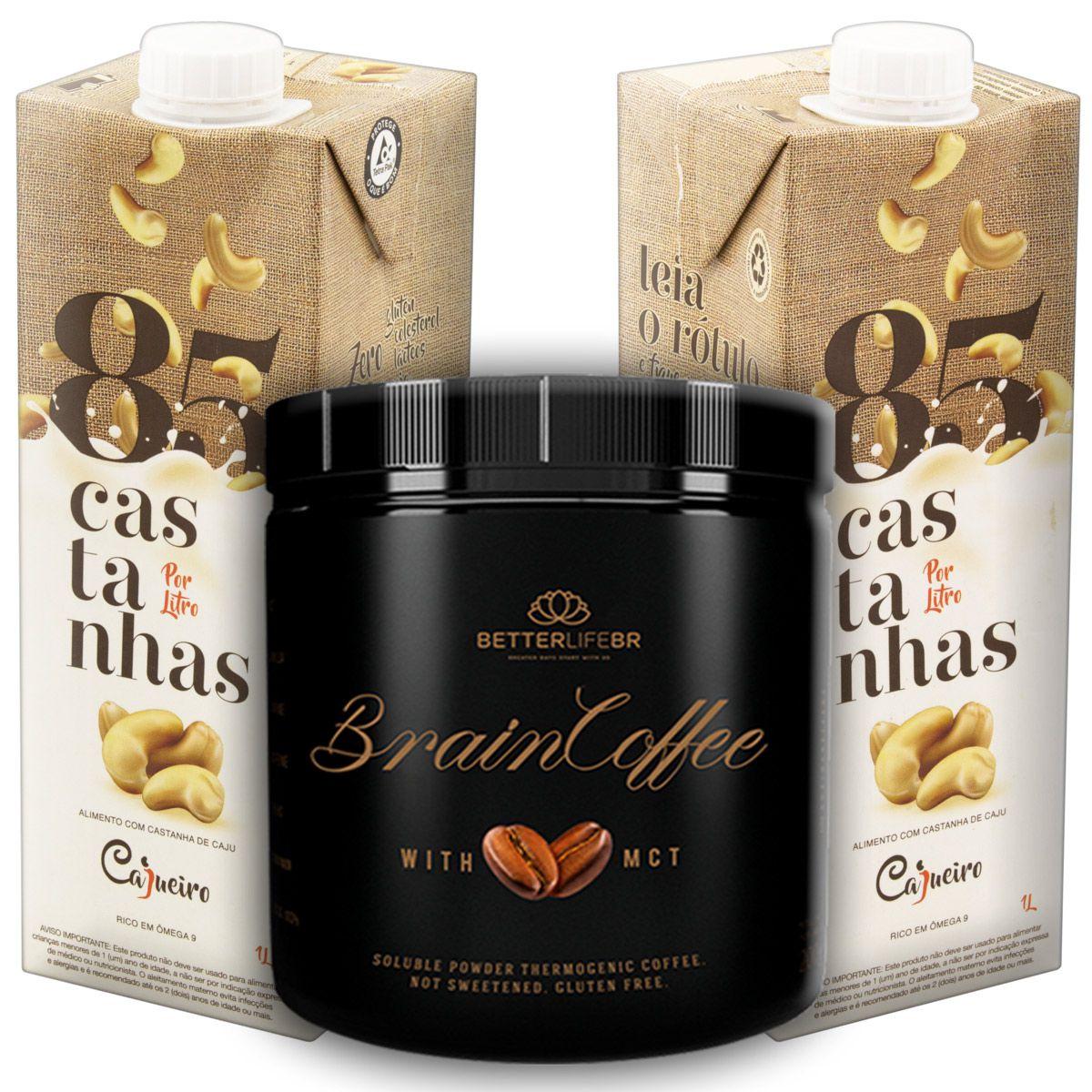 1 Brain Coffee com MCT 200g e 2 Leite Vegetal 85 Castanhas 1lt