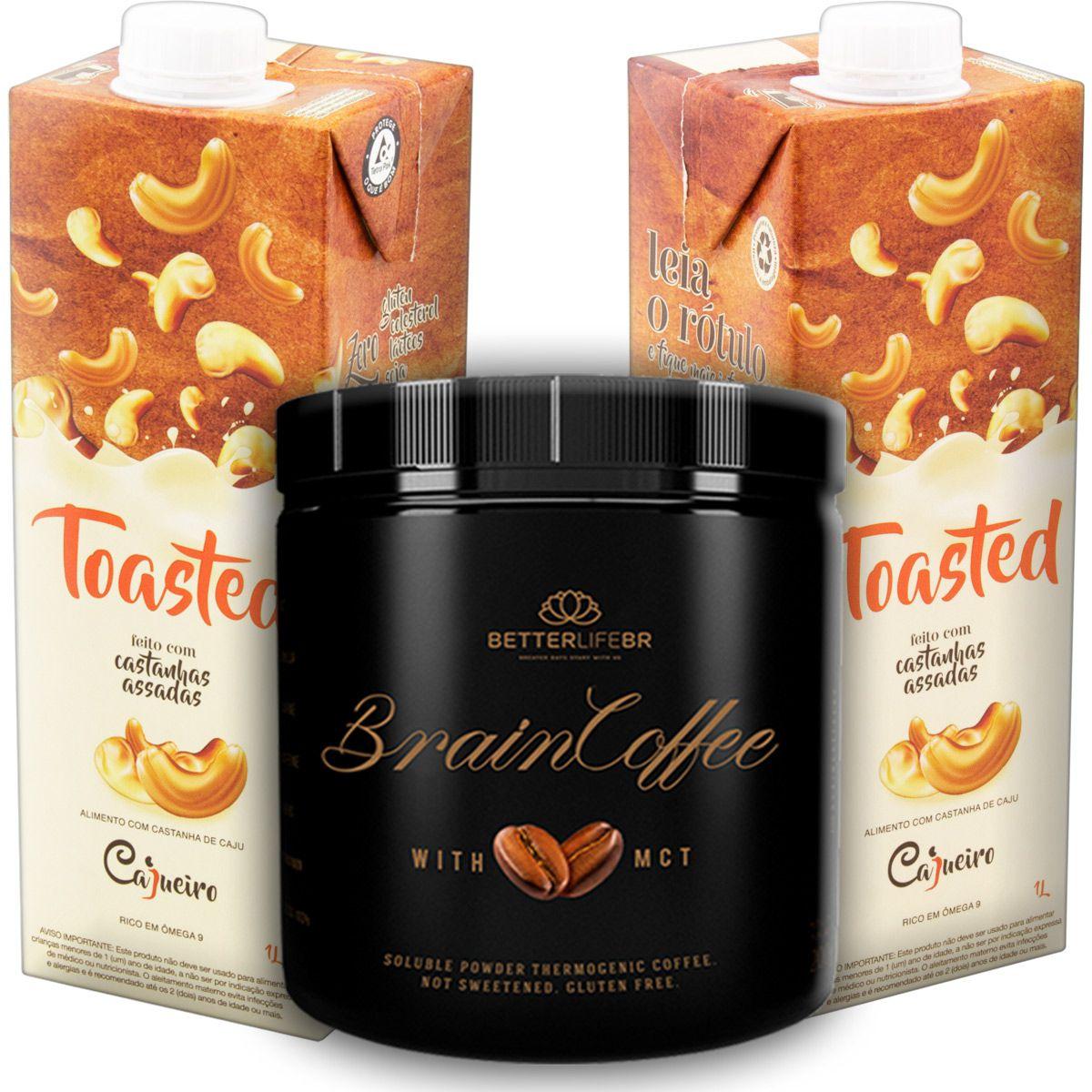 1 Brain Coffee com MCT 200g e 2 Leite Vegetal Toasted 1lt