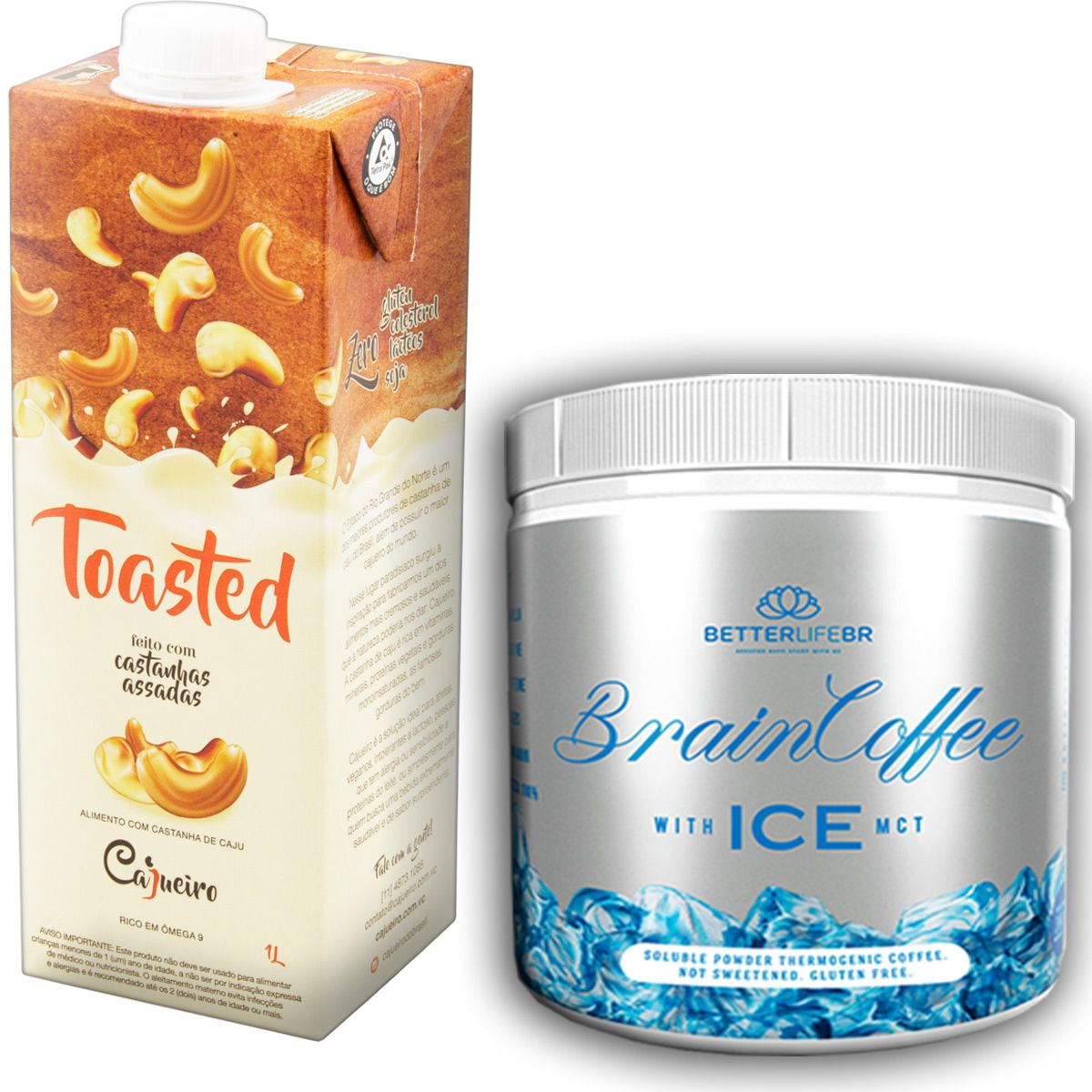 1 Brain Coffee ICE com MCT 200g e 1 Leite Vegetal Toasted 1lt