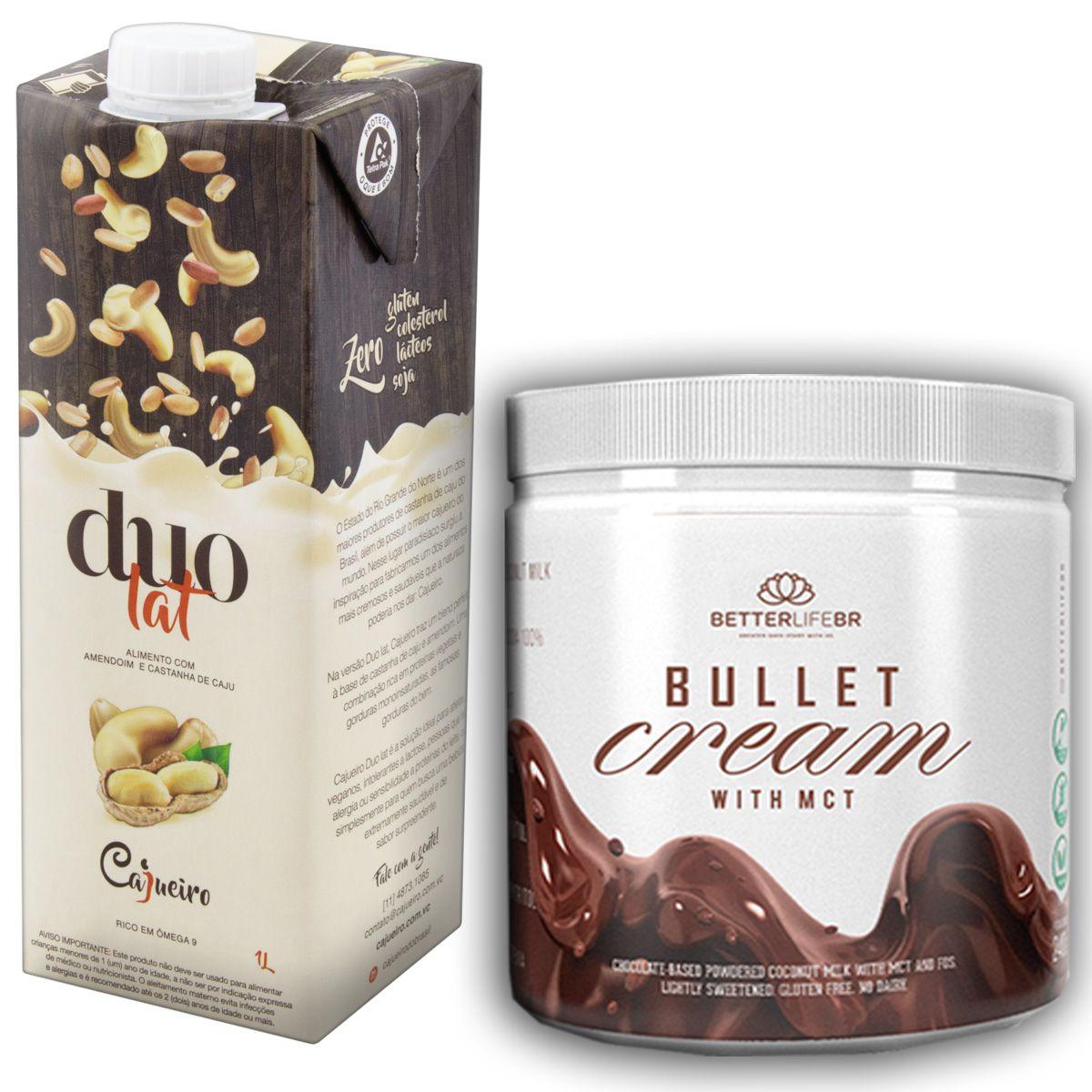 1 Bullet Cream com MCT 240g e 1 Leite Vegetal Duolat 1lt