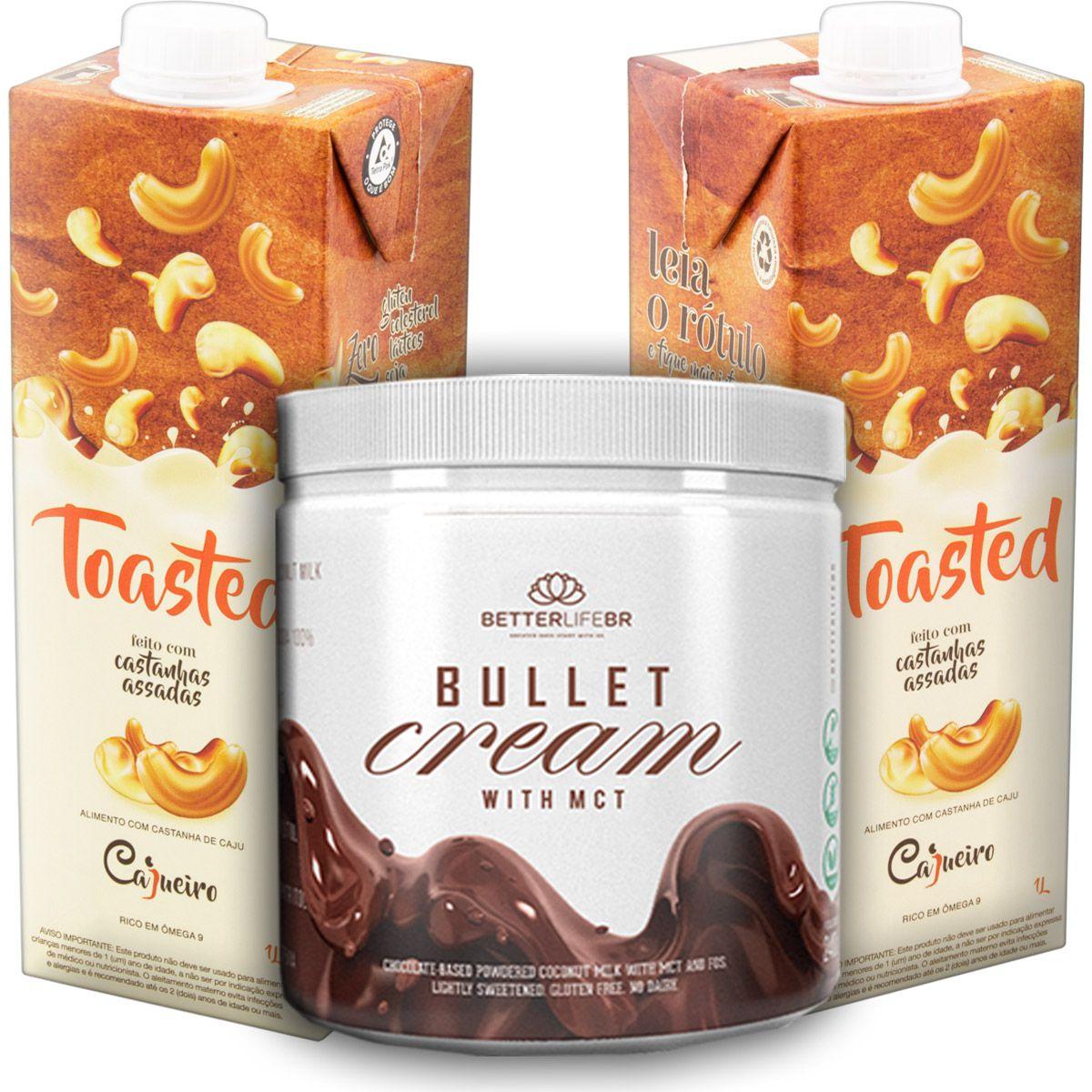 1 Bullet Cream com MCT 240g e 2 Leite Vegetal Toasted 1lt
