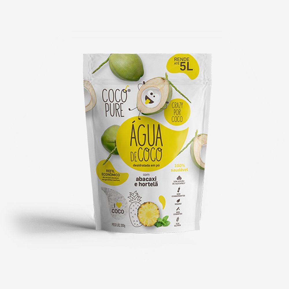 2 un. Garrafinha 18g e 1 un. Refil 200g CocoPure Abacaxi & Hortelã Água de Coco em Pó - Five Diamonds