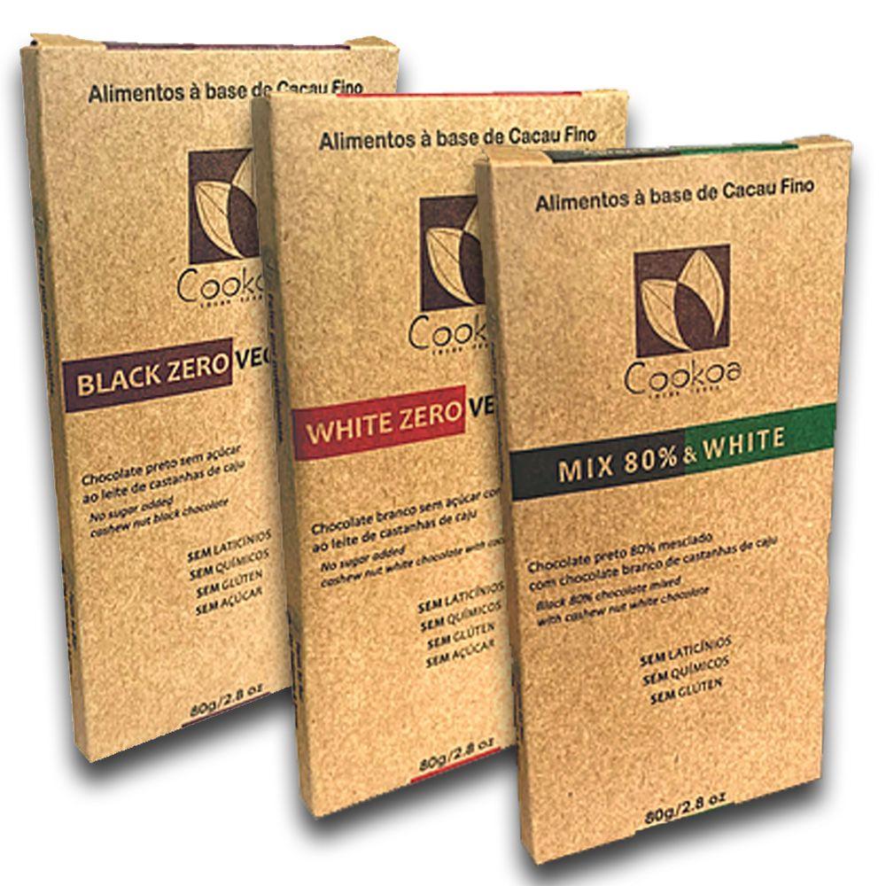 3 Chocolates Vegano Black Zero White Zero e Mix 80g Cookoa