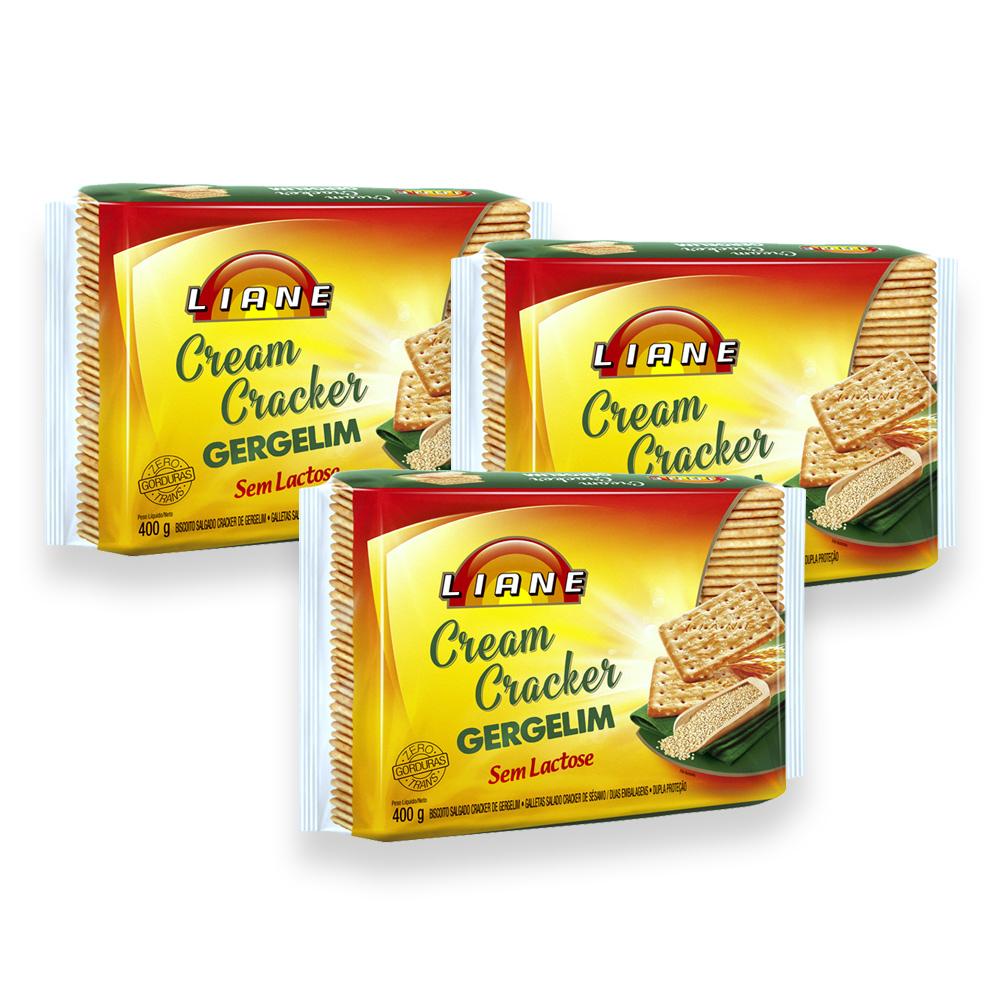 3un Biscoito Gergelim Cream Cracker Sem Lactose 400g Liane