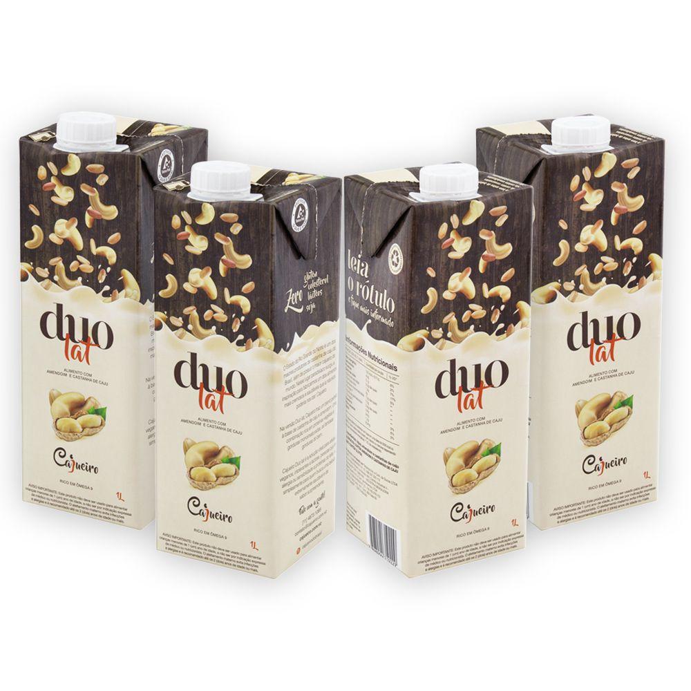4 un Leite Vegetal Cajueiro DuoLat Castanha de Caju e Amendoim 1lt