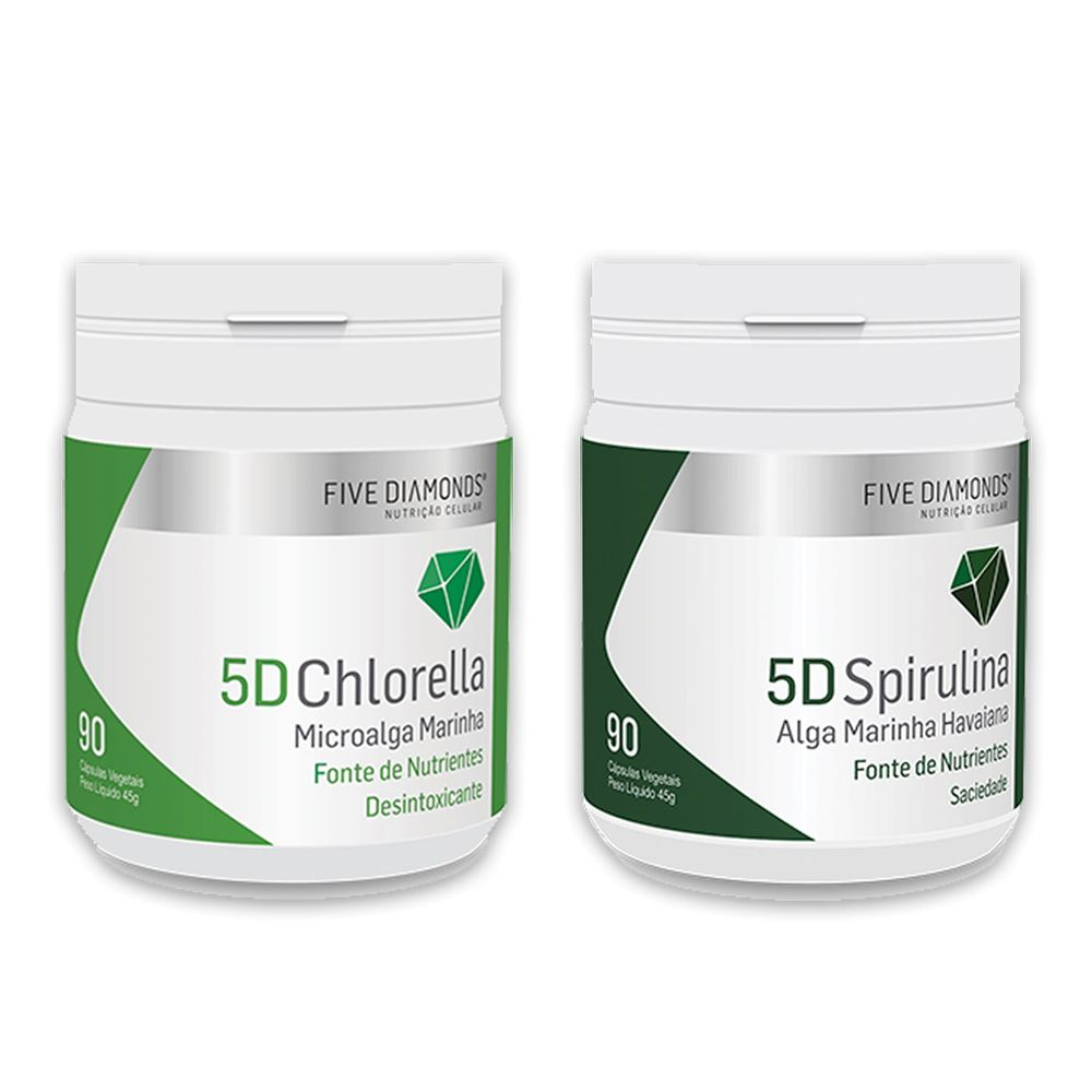 5D Chlorella 90 cáps e 5D Spirulina 90 cáps Five Diamonds