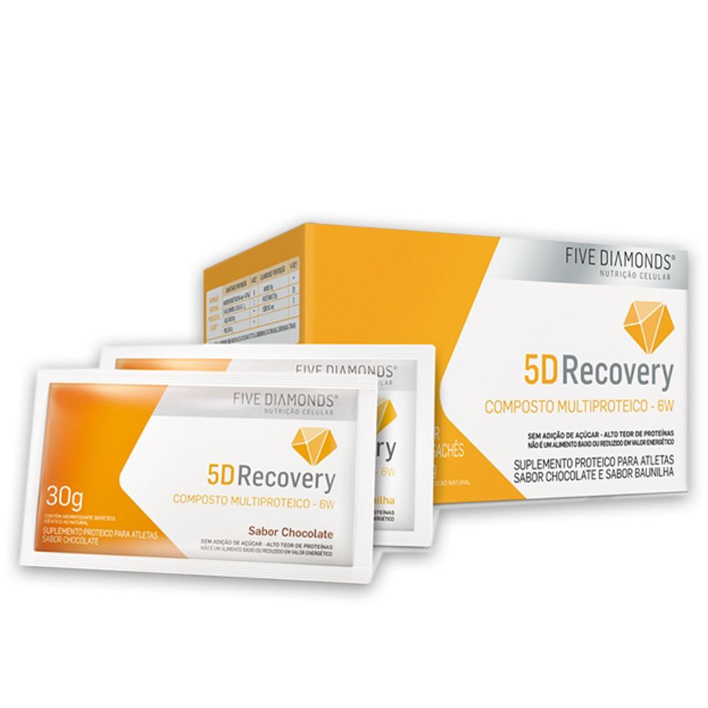 5D Recovery Whey Multi Protein 6W Baunilha 14 Sachês Five Diamonds