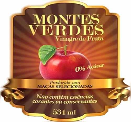 Vinagre Vivo de Maçã 534ml - Montes Verdes 12 unidades