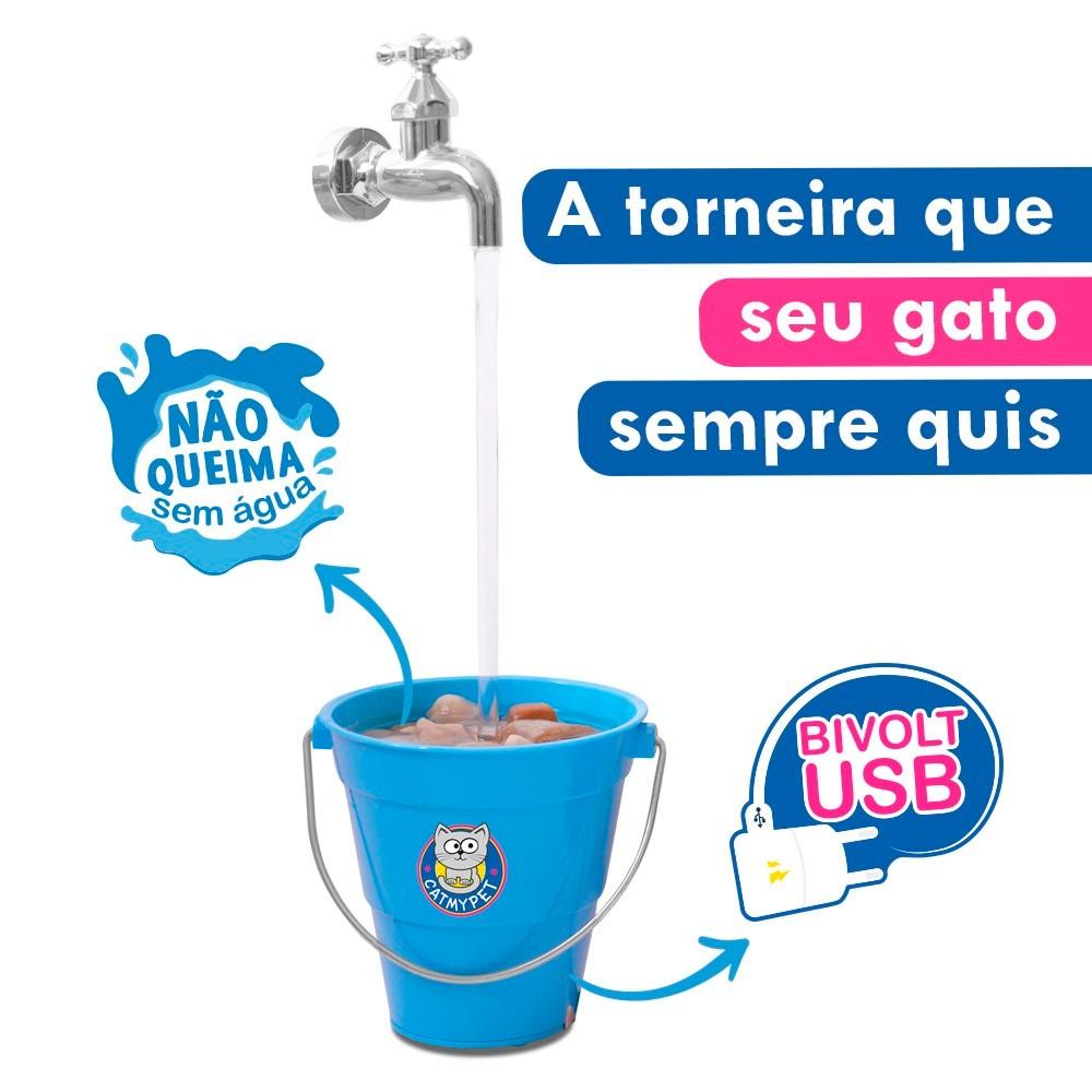 Bebedouro Torneira Fonte para Gato Magicat Azul Bivolt CatMyPet