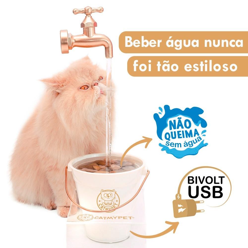 Bebedouro Torneira Fonte para Gato Magicat Gold Bivolt CatMyPet