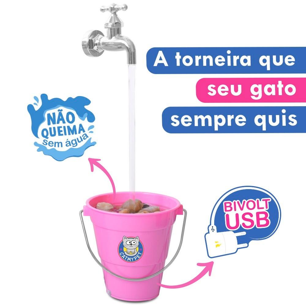 Bebedouro Torneira Fonte para Gato Magicat Rosa Bivolt CatMyPet