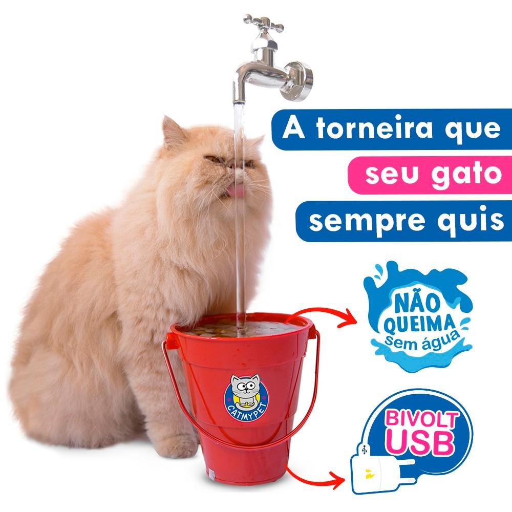 Bebedouro Torneira Fonte para Gato Magicat Vermelho Bivolt CatMyPet