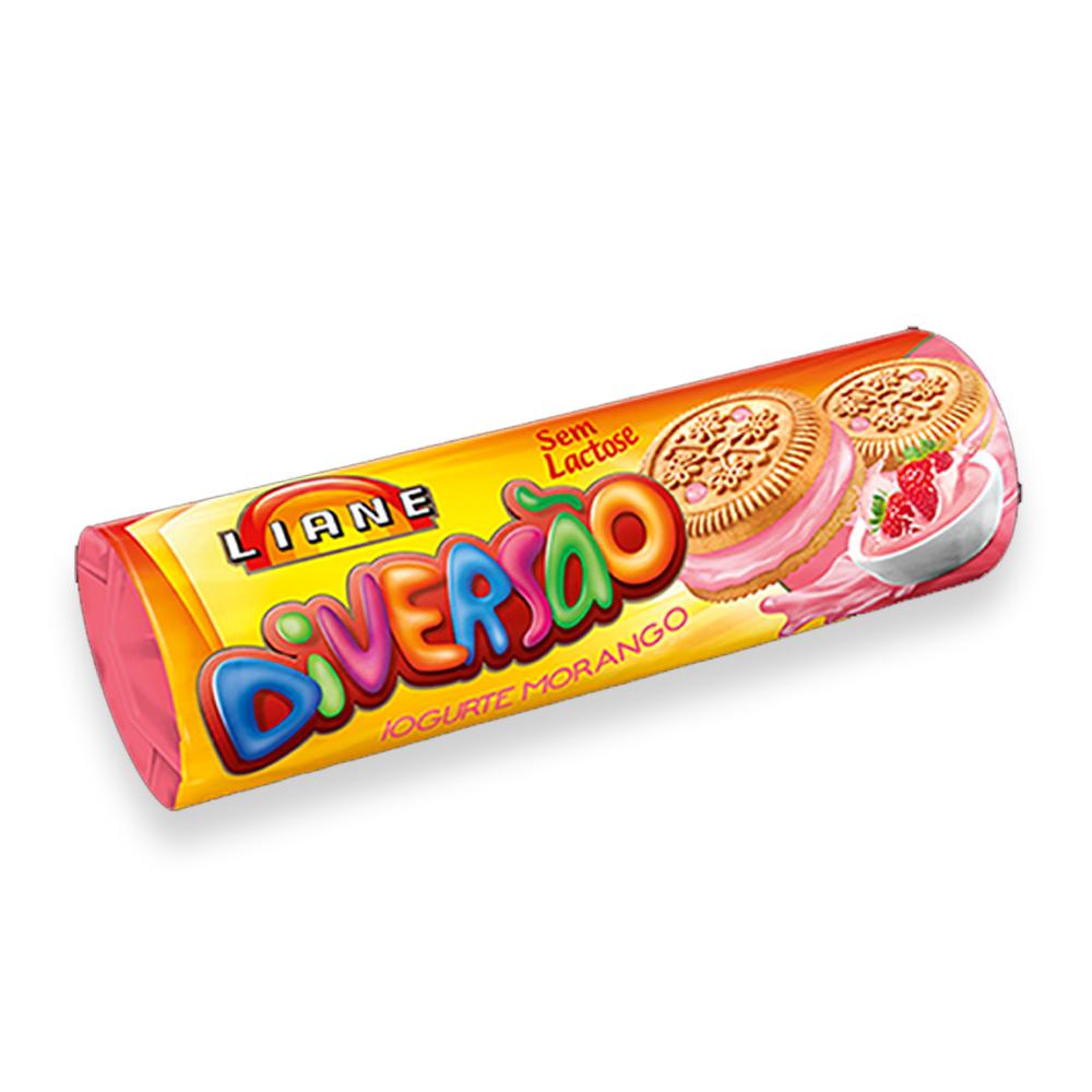 Biscoito Recheado Diversão Iogurte de Morango Sem Lactose 115g Liane
