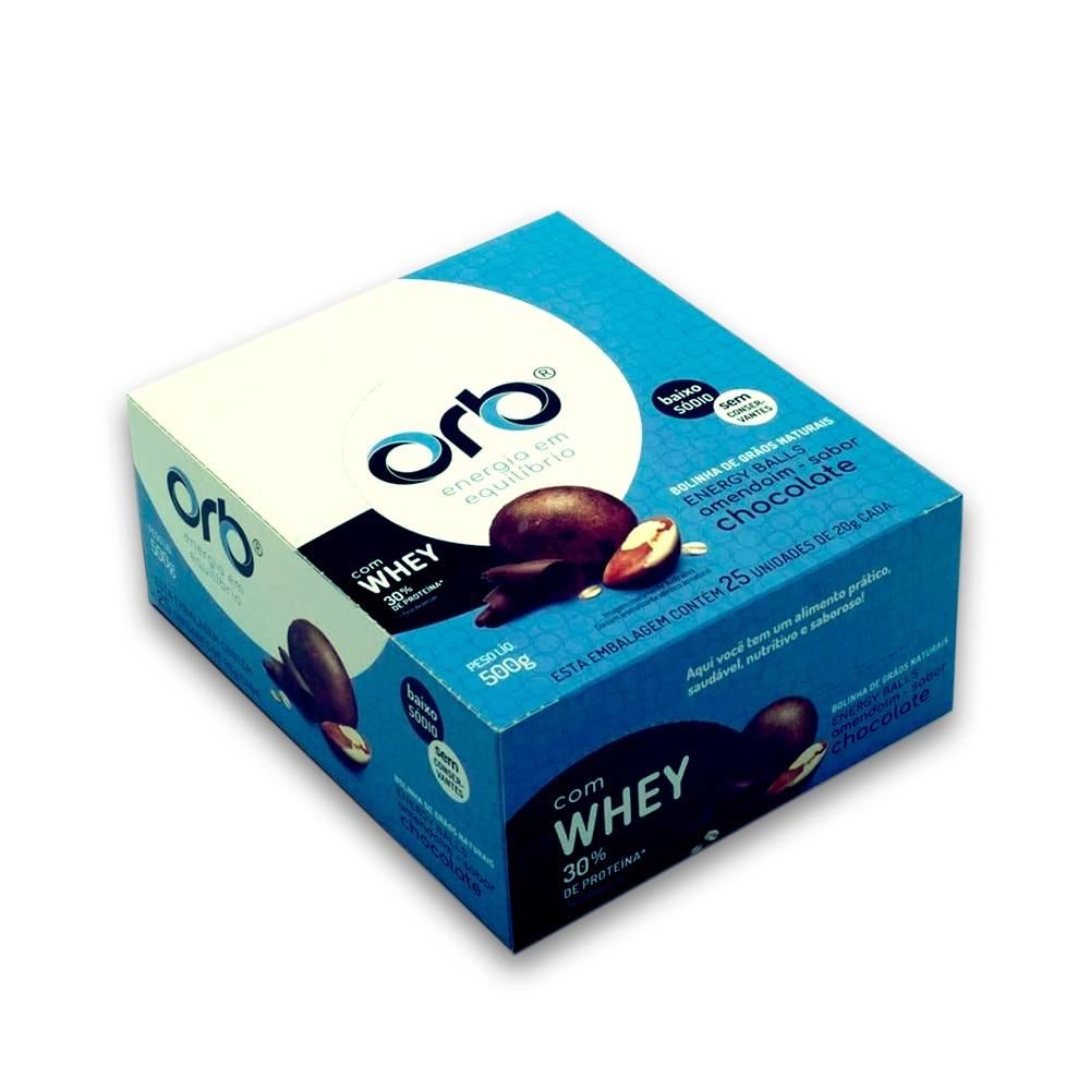 Bolinha de Proteina Chocolate com Whey 25un Orb Energy Balls