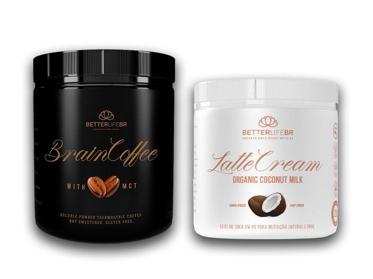 Brain Coffee 200g e LatteCream Leite de Coco 200g - BetterLife