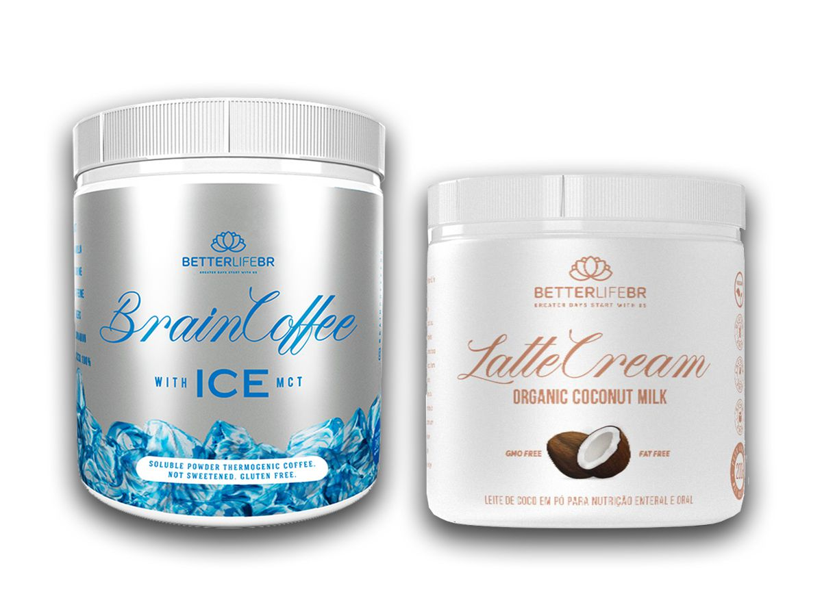 Brain Coffee ICE 200g e LatteCream Leite de Coco 200g - BetterLife