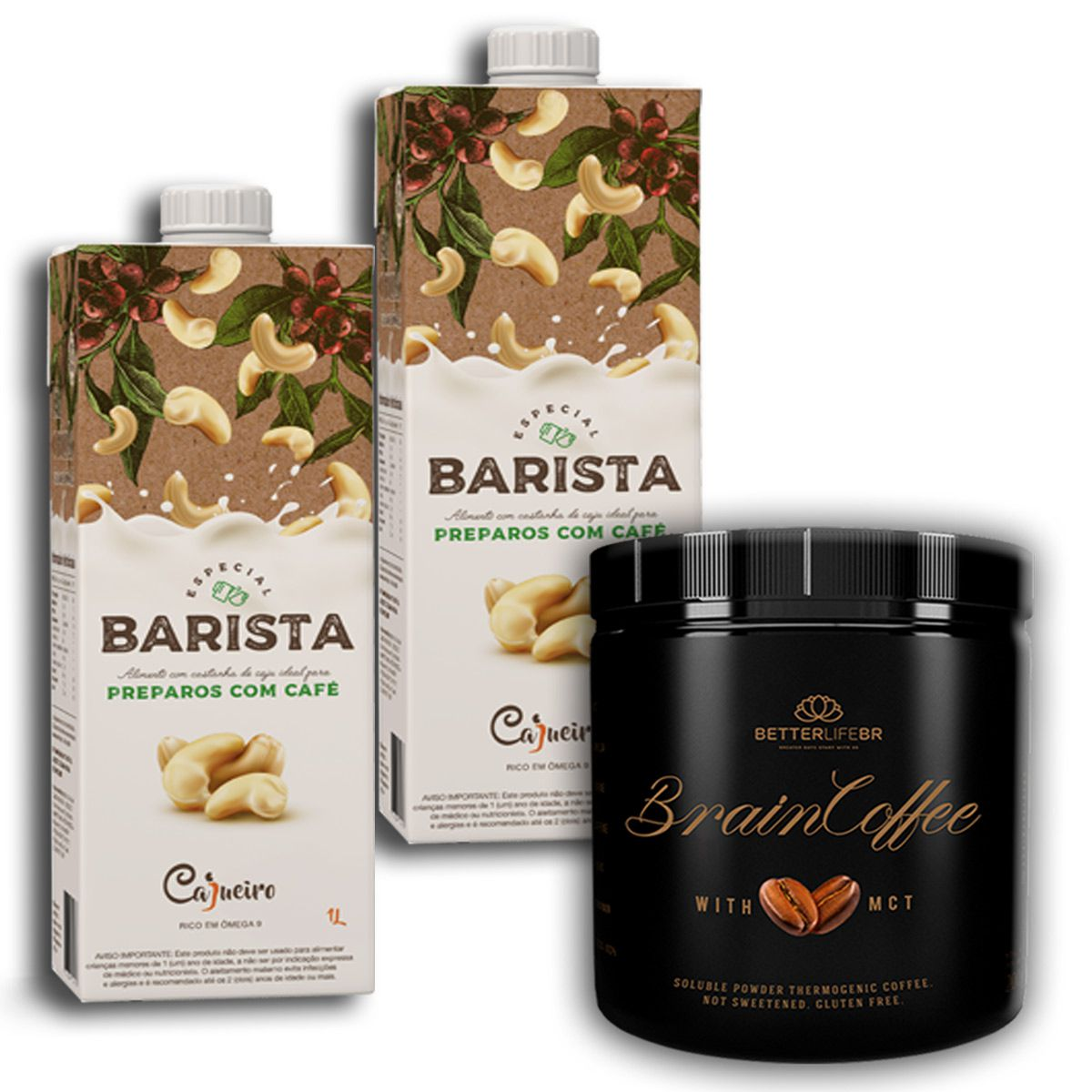 Brain Coffee com MCT 200g Betterlife 2 Leite Vegetal Barista 1lt Cajueiro
