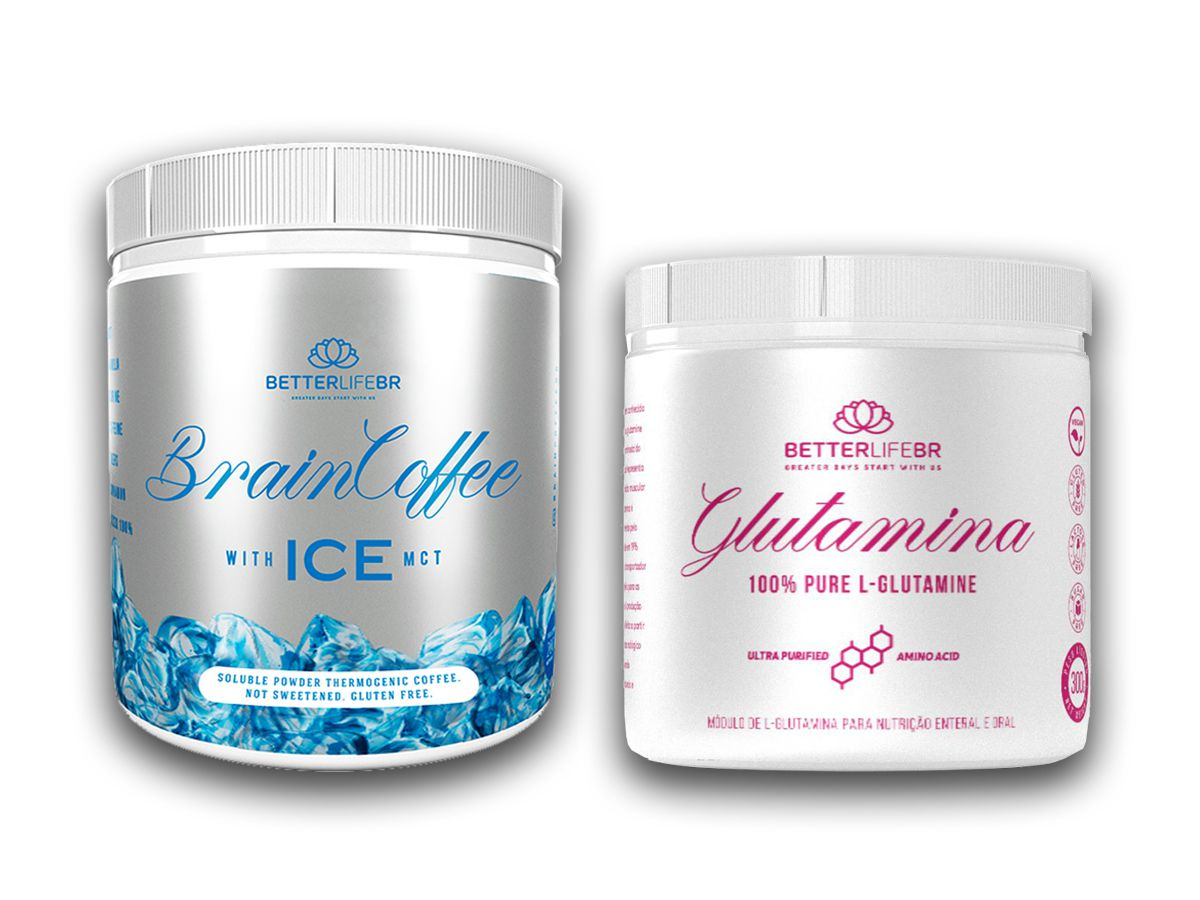 Brain Coffee ICE 200g e Glutamina 300g - BetterLife