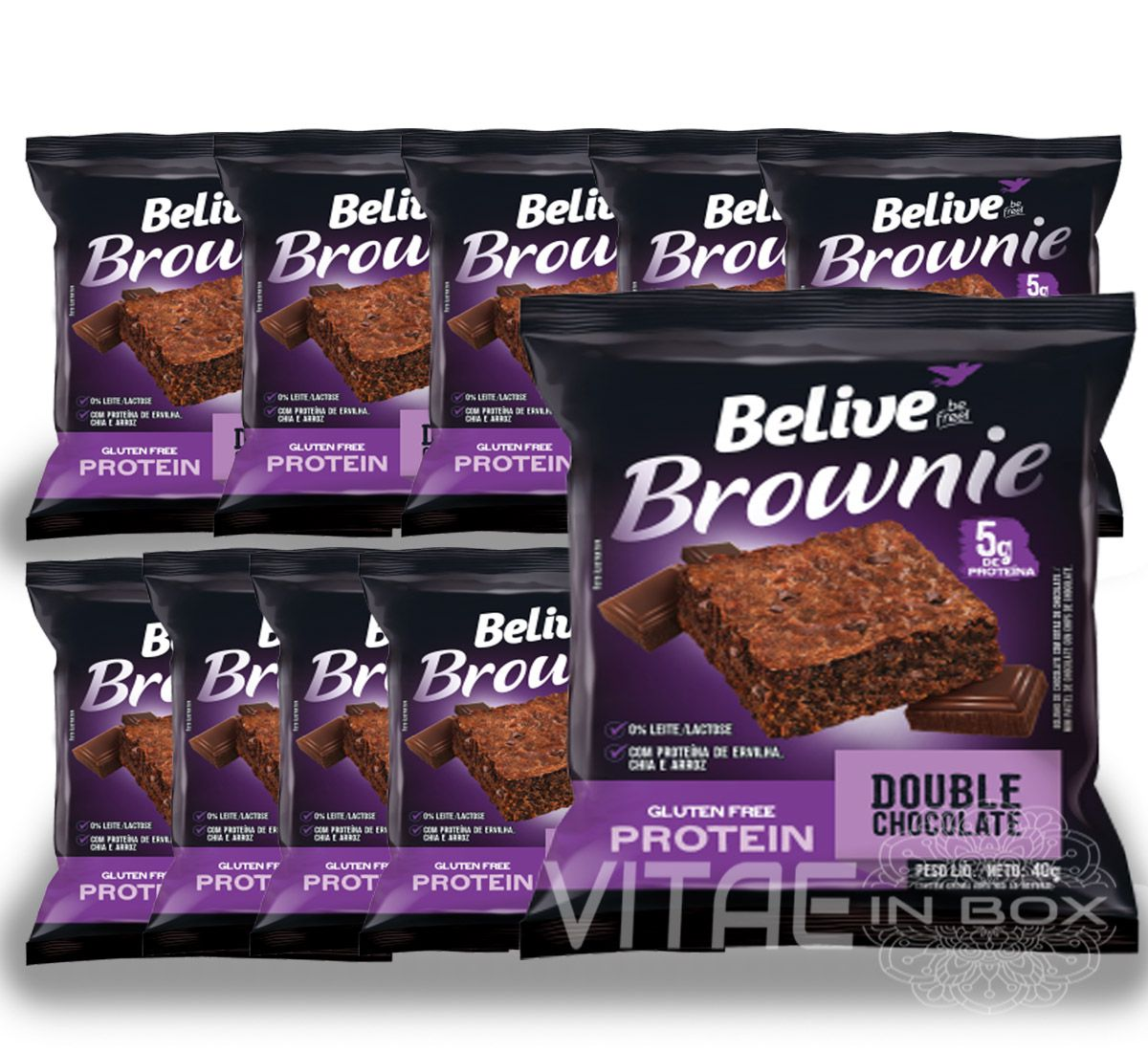 Brownie Chocolate Protein Sem Glúten Sem Lactose 10x40g - Belive