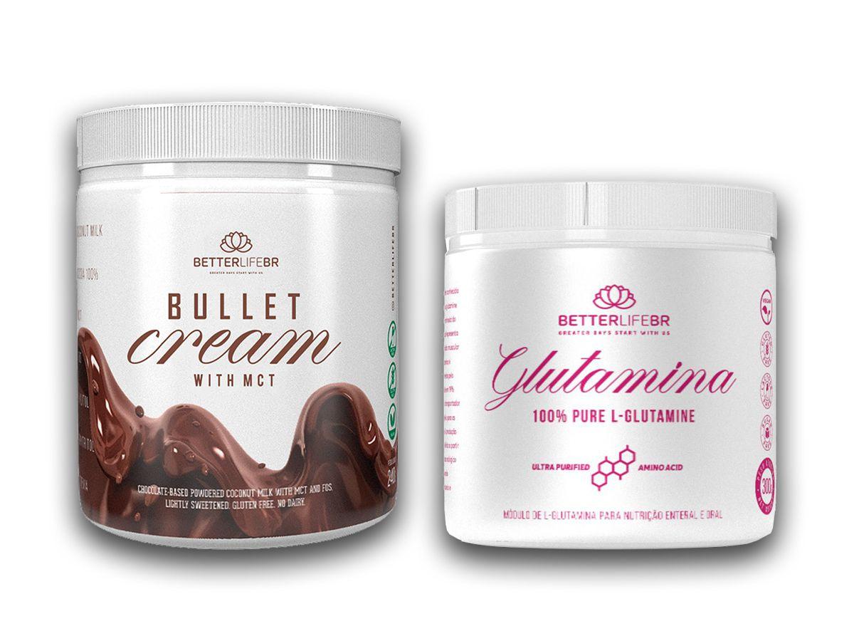 Bullet Cream Chocolate em Pó 240g e Glutamina 300g - BetterLife